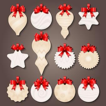 Etiquetas de adornos navideños con lazos