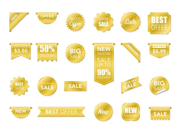 Etiquetas aisladas sobre fondo blanco. banners de cinta 3d de mejor opción. promoción de venta, pegatinas de sitios web, nueva colección de insignias de oferta. ilustración vectorial