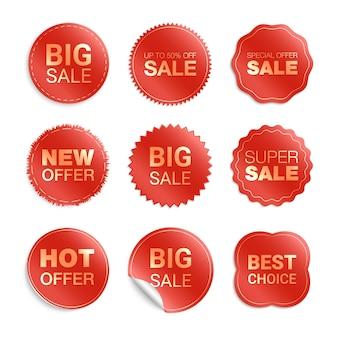 Etiquetas aisladas sobre fondo blanco. promoción de venta, pegatinas de sitios web, nueva colección de insignias de oferta. descuento de insignias planas y etiquetas. etiquetas de mejor elección.