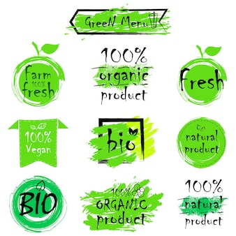 Etiquetas de alimentos ecológicos verdes. encabezados de salud. colección de ilustraciones vectoriales dibujadas a mano.
