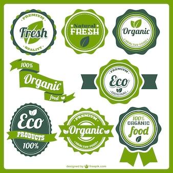 Etiquetas de alimentos orgánicos ecológicos