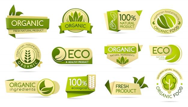 Etiquetas de alimentos orgánicos, productos ecológicos y bio naturales.