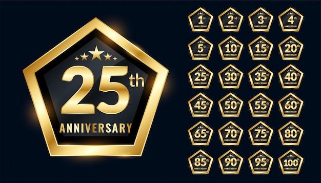 Etiquetas de aniversario en diseño de estilo de emblema premium