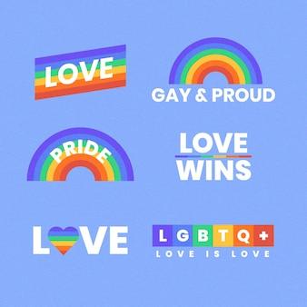 Etiquetas del arco iris del concepto del día del orgullo