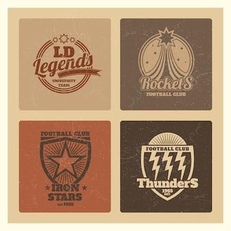 Etiquetas atléticas de la universidad de grunge, emblemas del equipo universitario, insignias de equipos deportivos antiguos