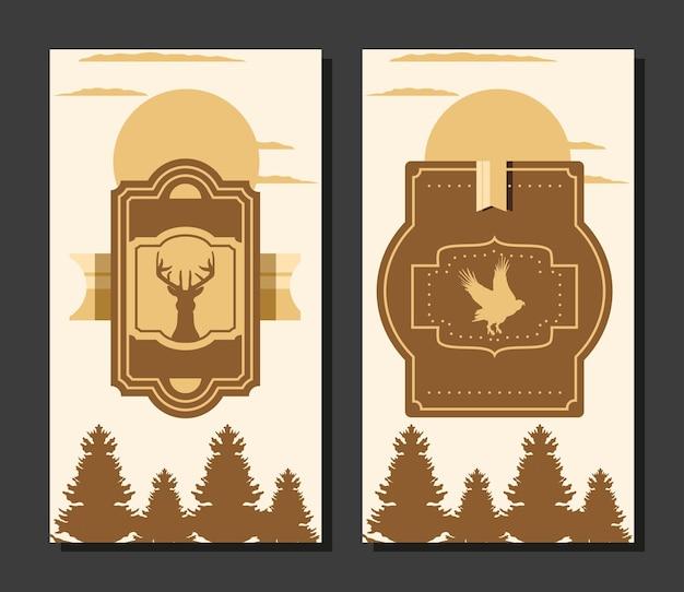 Etiquetas de aves del bosque