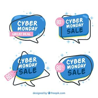 Etiquetas azules de cyber monday