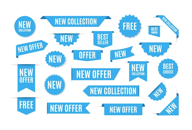 Etiquetas azules y pegatinas con las mejores ofertas. banner web de cinta, pegatinas de promoción de ventas, cintas curvas.