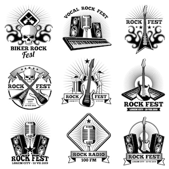 Etiquetas de la banda de rock n roll retro. etiquetas de festival de fiesta de rocas de grunge