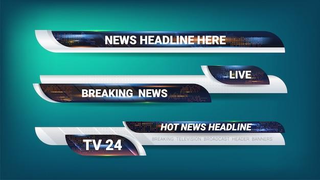Etiquetas y banner para la transmisión de noticias.