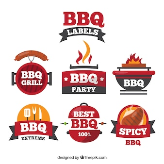 Etiquetas de barbacoa en diseño plano