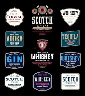 Etiquetas de bebidas alcohólicas y elementos de diseño de envases.