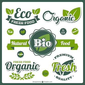 Etiquetas bio alimentos frescos