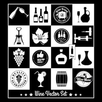 Etiquetas en blanco y negro de vino