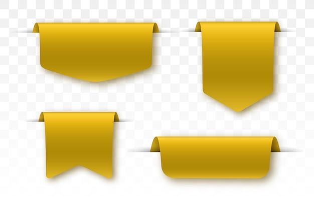 Etiquetas en blanco oro y cintas aisladas.
