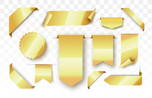 Etiquetas en blanco de oro y cintas. vector