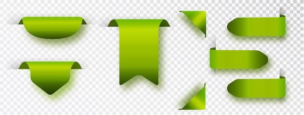 Etiquetas en blanco realistas verdes aisladas. ilustración vectorial.