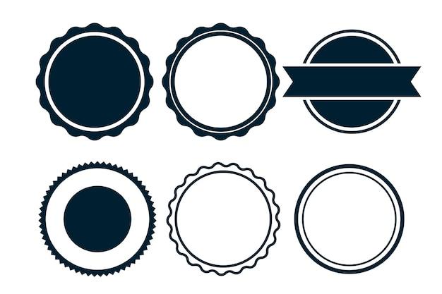 Etiquetas en blanco vacías o sellos circulares conjunto de seis