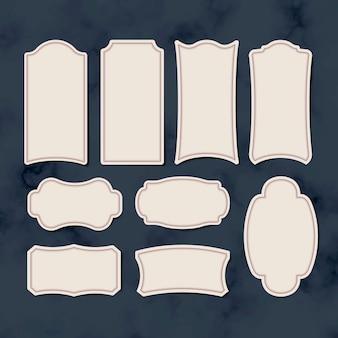 Etiquetas en blanco vintage etiqueta conjunto de vectores