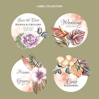 Etiquetas de boda boho acuarela