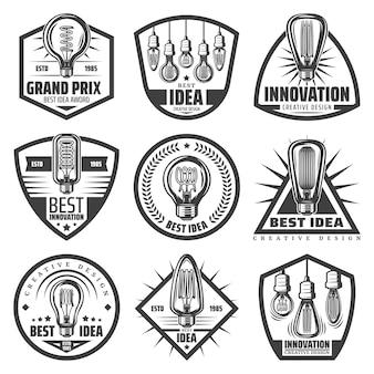 Etiquetas de bombillas monocromáticas vintage con inscripciones bombillas modernas