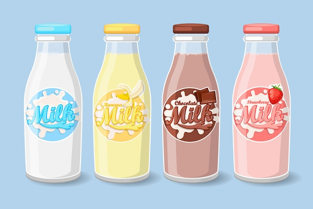 Etiquetas en botellas de leche.