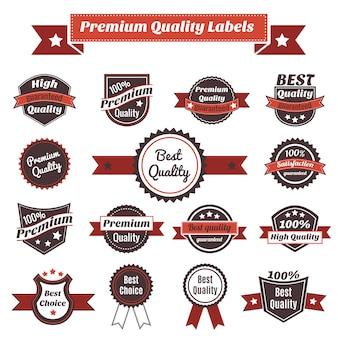 Etiquetas de calidad premium y colección de insignias.