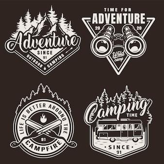 Etiquetas de camping monocromáticas vintage