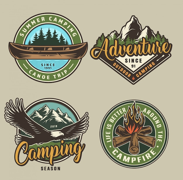 Etiquetas de camping de verano vintage