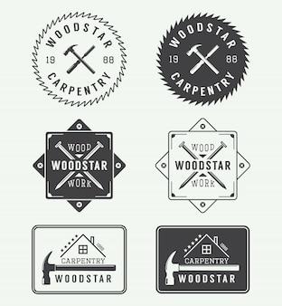 Etiquetas de carpintería, emblemas.