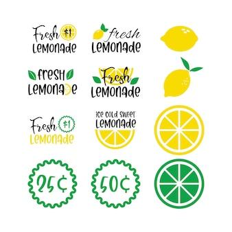 Etiquetas y carteles de limonada fresca con limón. ilustraciones vectoriales para diseño gráfico y web, para stand, restaurante y bar, menú.