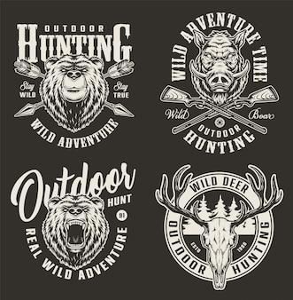 Etiquetas de caza vintage