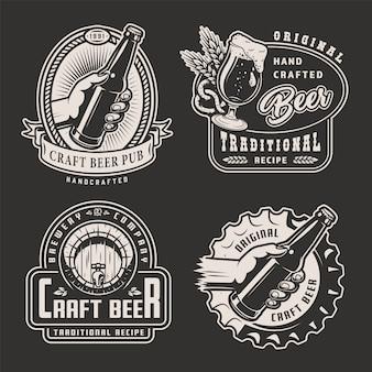 Etiquetas de cervecería monocromática vintage
