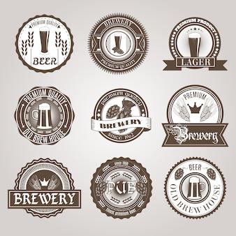 Etiquetas de cerveza set negro