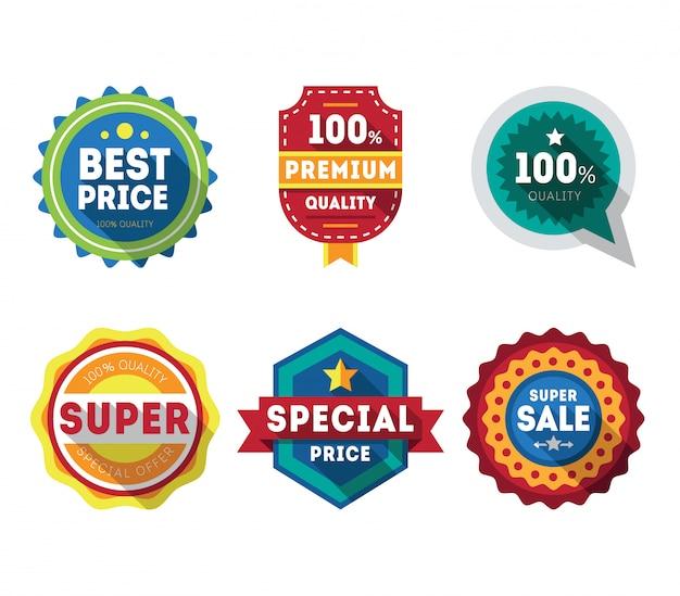 Etiquetas y cintas de venta establecen elementos de diseño