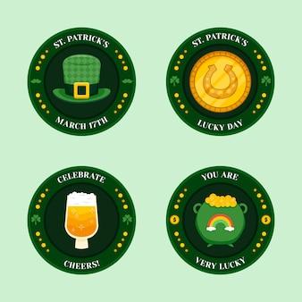 Etiquetas circulares del día de san patricio con elementos tradicionales