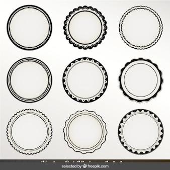 Etiquetas circulares monocromo