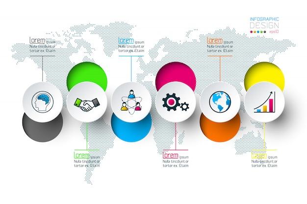 Etiquetas de círculo de negocios forma barra de grupos de infografía.