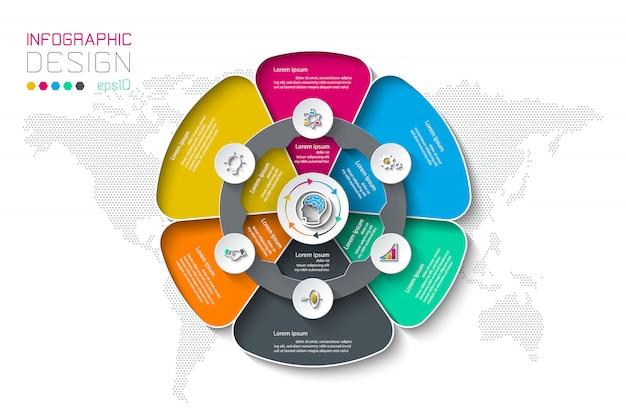 Etiquetas de círculo de negocios forma grupos de infografía.