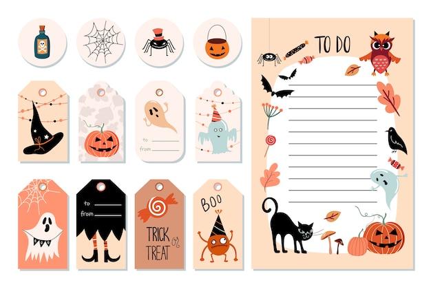 Etiquetas colgadas de halloween y lista de tareas con elementos lindos específicos, ilustración dibujada a mano.