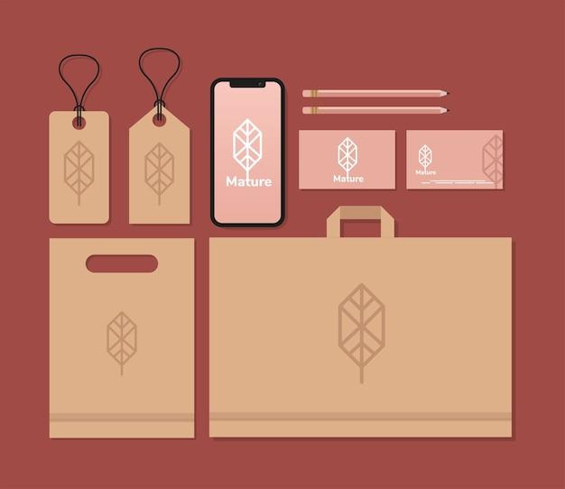 Etiquetas colgantes y paquete de elementos de conjunto de maquetas en rojo, diseño de ilustraciones