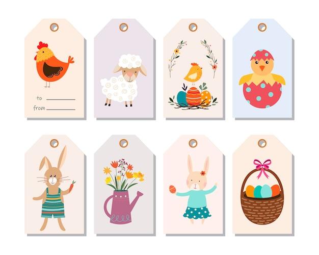 Etiquetas colgantes de pascua, colección de etiquetas con elementos de temporada.