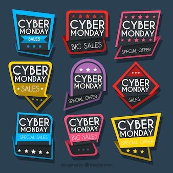 Etiquetas coloridas de cyber monday
