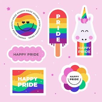 Etiquetas coloridas del día del orgullo