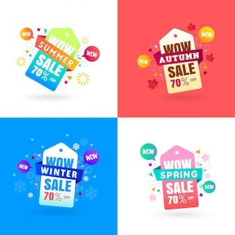 Etiquetas coloridas de la etiqueta de la venta de las estaciones