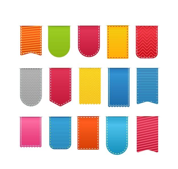 Etiquetas de compras de diferentes colores vector clipart aislado en blanco. listo para un texto