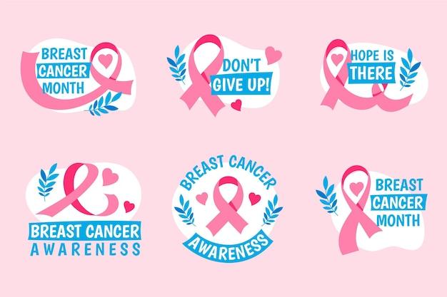 Etiquetas de concientización sobre el cáncer de mama