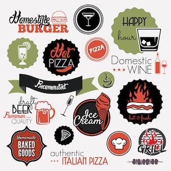 Etiquetas de conjunto de alimentos