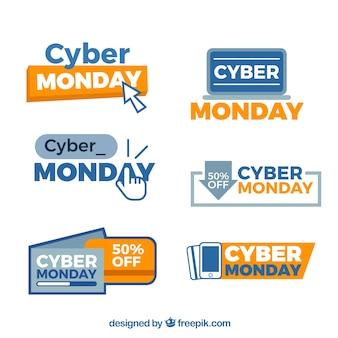 Etiquetas creativas de cyber monday
