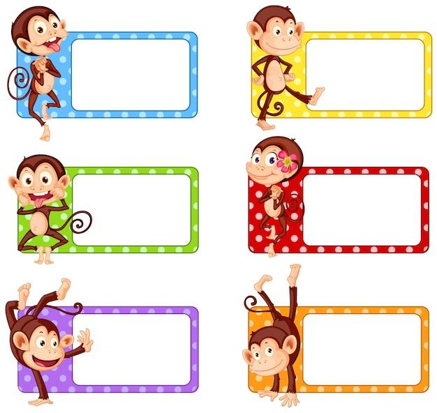 Etiquetas cuadradas con monos divertidos